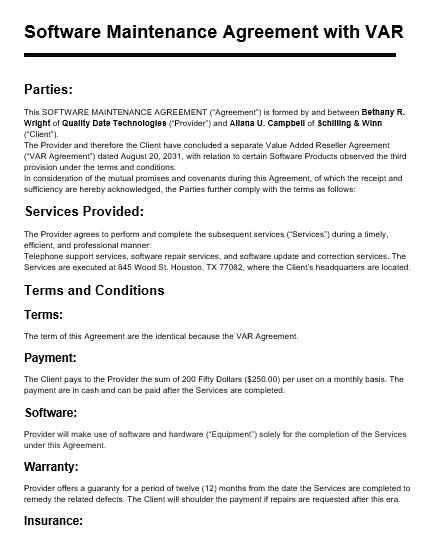 Maintenance Agreement Template 08