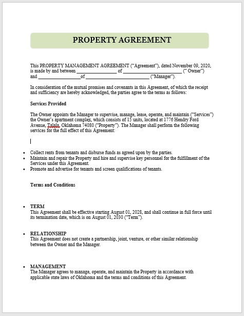 Property Agreement Template 01