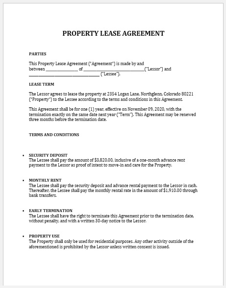 Property Agreement Template 02