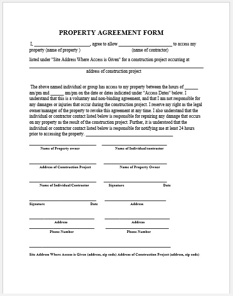 Property Agreement Template 03