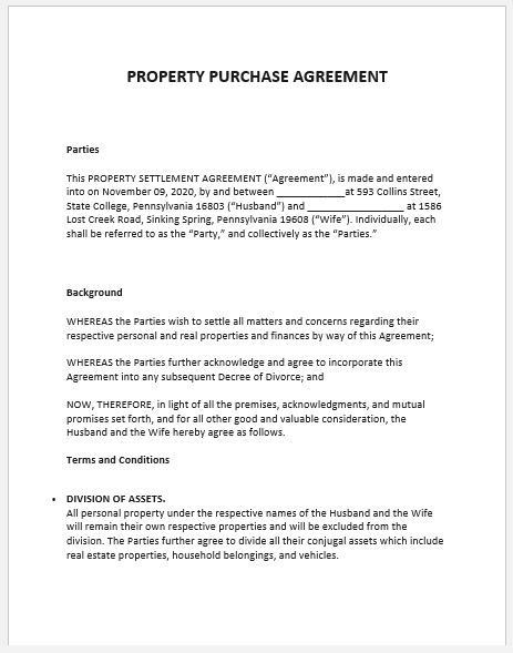 Property Agreement Template 05