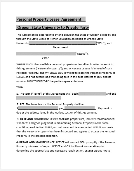 Property Agreement Template 06