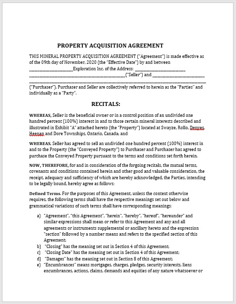 Property Agreement Template 10