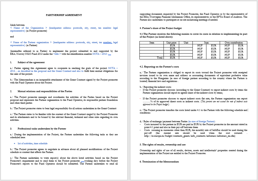 Partnership Agreement Template - MS Word 01