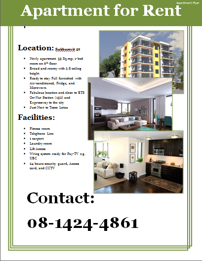 Apartment For Rent Flyer Template Word