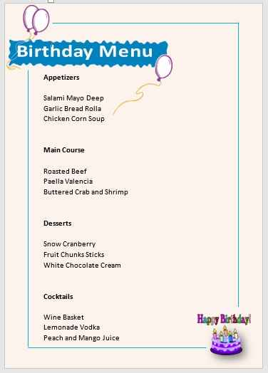 Birthday Menu Template 01
