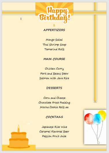 Birthday Menu Template 09