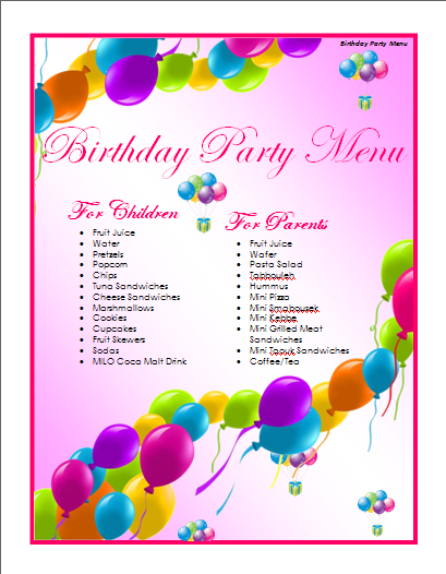 Birthday Menu Template  Free Menu Templates Microsoft Word
