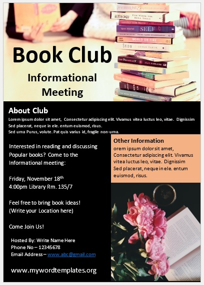 Book Club Flyer Template 04