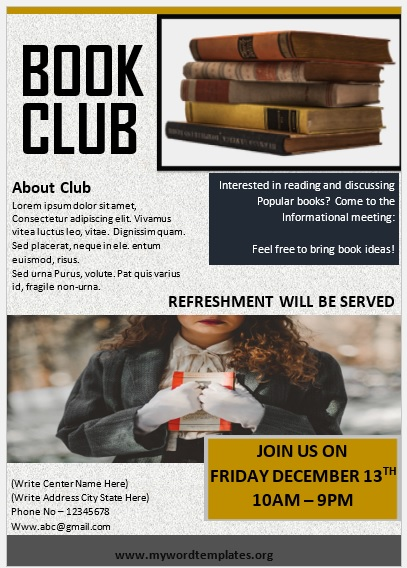 Book Club Flyer Template 06