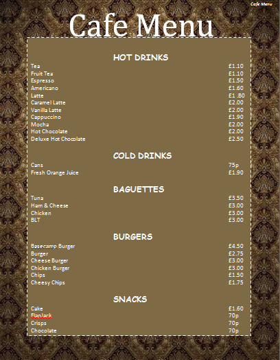 Cafe menu template microsoft word templates for Easy menu templates free