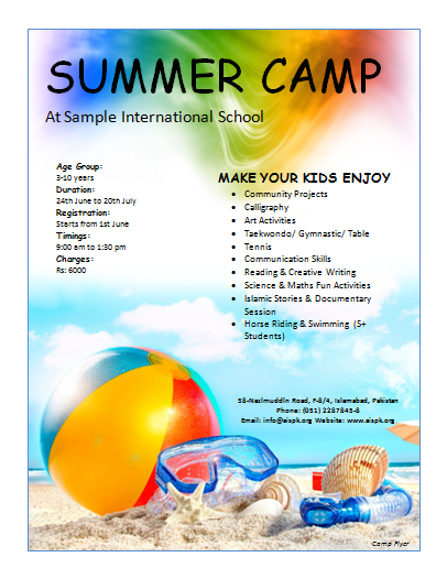 ... is preview of this Camp Flyer Template created using Microsoft Word