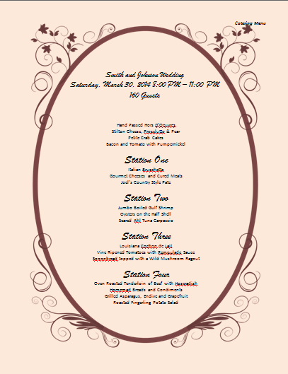 Catering Menu Template - Microsoft Word Templates