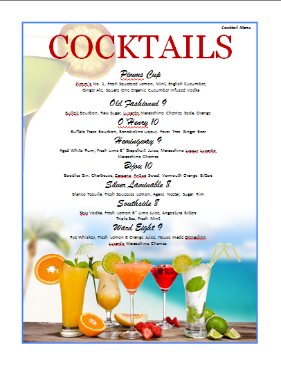 Cocktail menu template microsoft word templates for Html menu bar templates free download