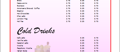 Sample drinks menu microsoft word templates for Drink menu template microsoft word