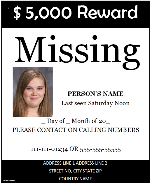 Beautiful Missing Person Poster Ideas Missing Person Poster Template