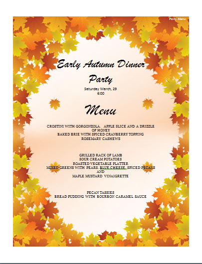 Party Menu Template  Free Menu Templates Microsoft Word