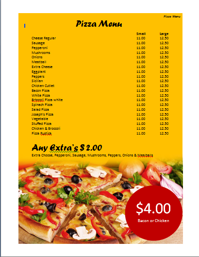Pizza Menu Template Microsoft Word Templates