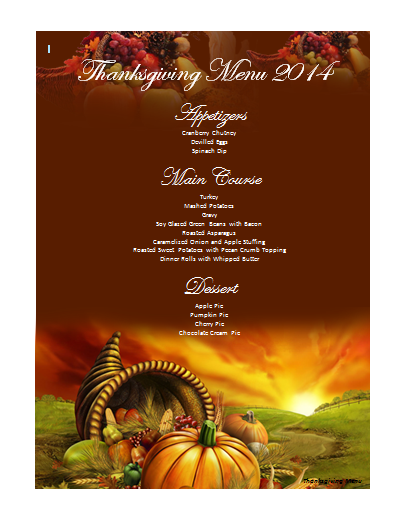 thanksgiving dinner menu template