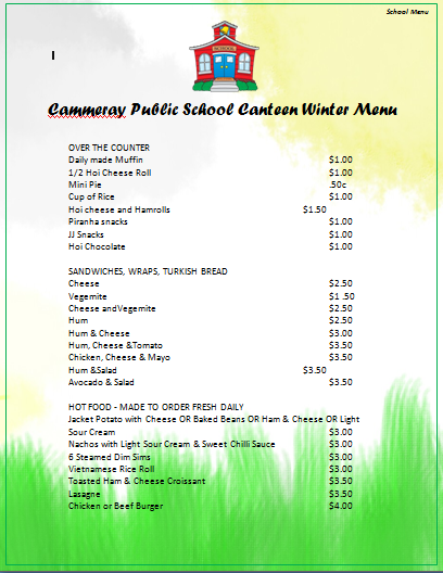 school menu template