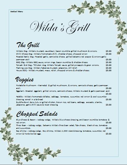 verticle  menu template