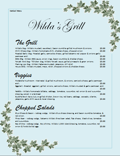 Vertical Menu Template  Free Menu Templates Microsoft Word