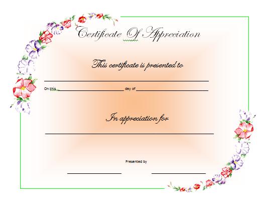 appreciation certificate templates .