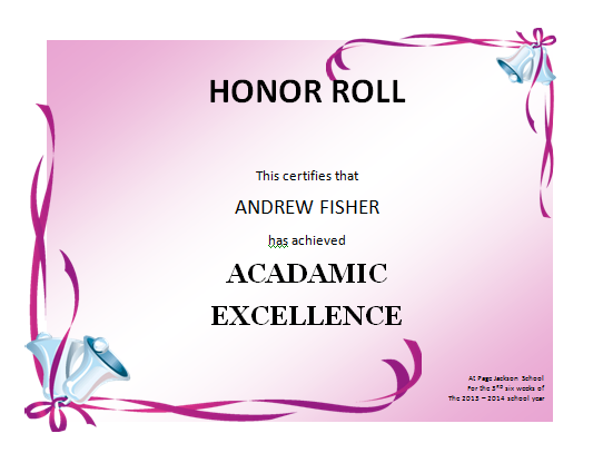 photo about Free Printable Honor Roll Certificates named honor roll certification template microsoft term - Mozo