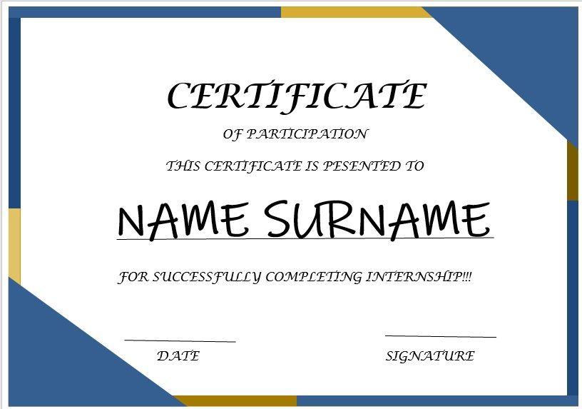 Internship Certificate Template 03