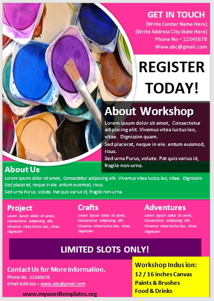 Painting Workshop Flyer Template 06