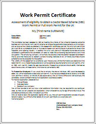 Simple work permit certificate microsoft word templates work permit certificate template yadclub Image collections