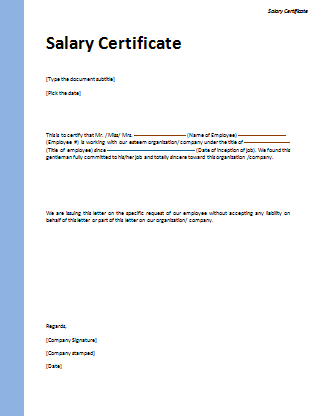 Salary Certificate Template Microsoft Word Templates