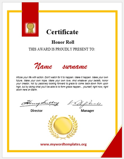 Honor Roll Certificate Template 03