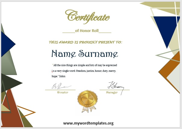 Honor Roll Certificate Template 04