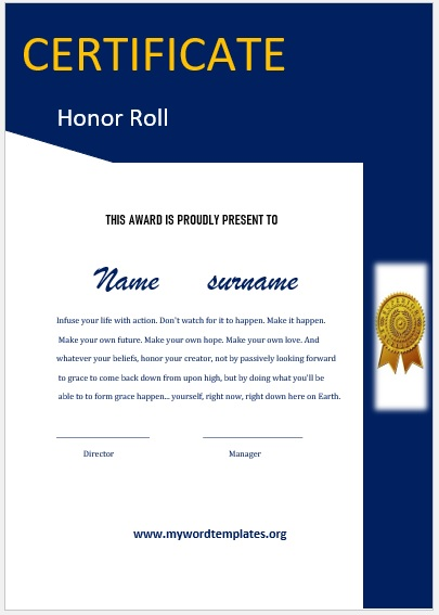 Honor Roll Certificate Template 07