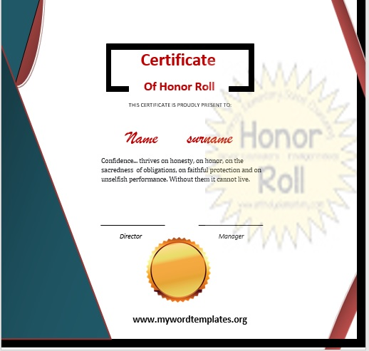 Honor Roll Certificate Template 08