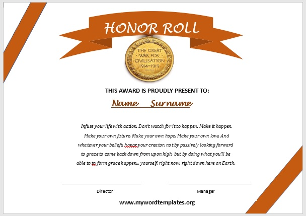 Honor Roll Certificate Template 09