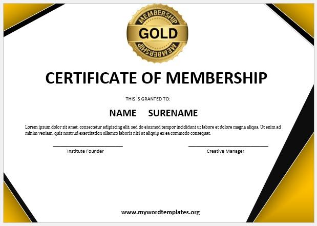 Membership Certificate Template 01