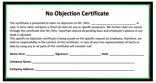No Objection Certificate Template – Non Objection Certificate Format