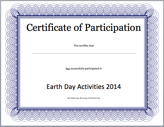 Participation Certificate Template – Certificate of Participation Format