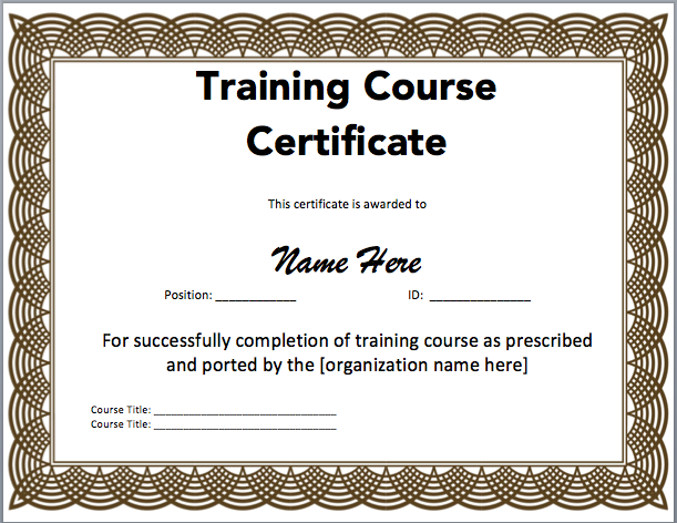 Sample Training Certificate – Word Templates Certificates