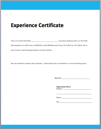 Work Experience Certificate Template – Samples of Experience Certificate