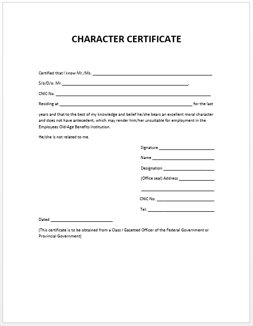 Character Certificate Template  Certificate Samples In Word Format