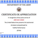 Army Certificate Template