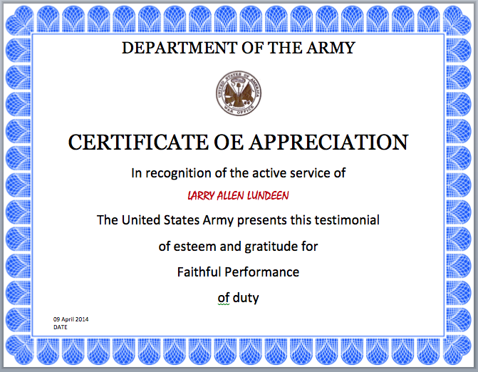 Army Certificate Template – Army Certificate of Appreciation