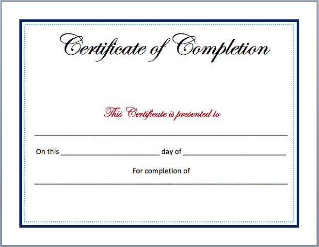 Completion Certificate Template  Ms Office Certificate Template