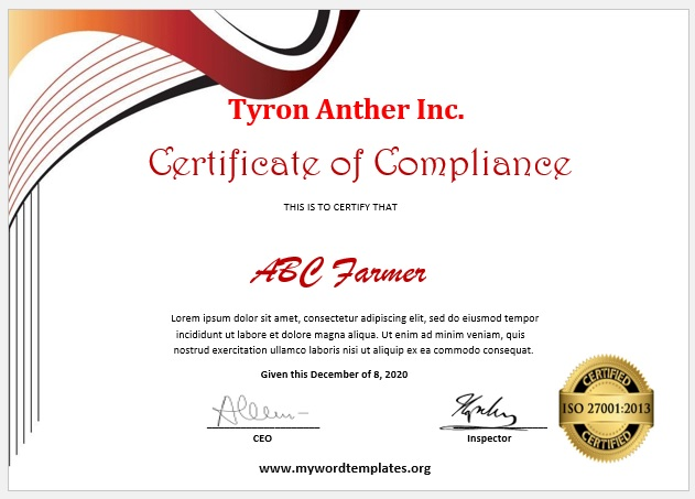 Compliance Certificate Template 01