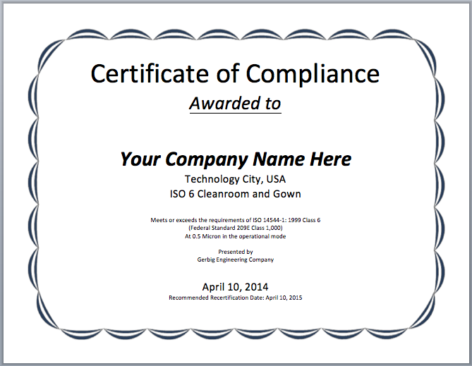 Compliance certificate template microsoft word templates for Certificate of conformance template