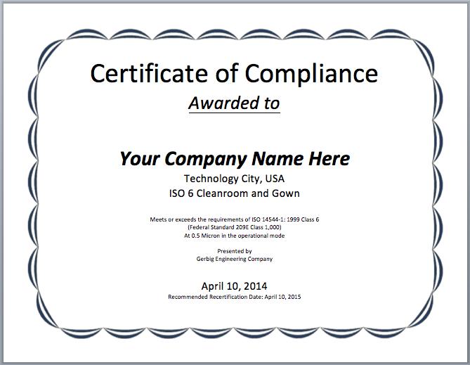 Compliance Certificate Template