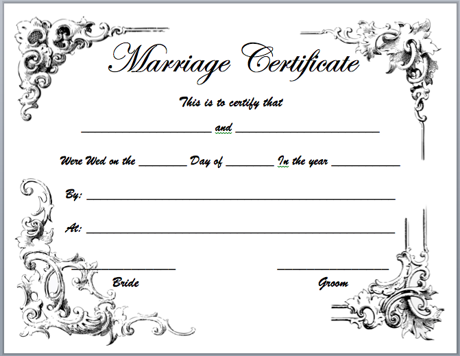 Marriage Certificate Template  Ms Office Certificate Template